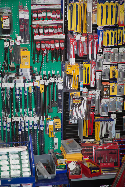 Variety of tools on shelf
